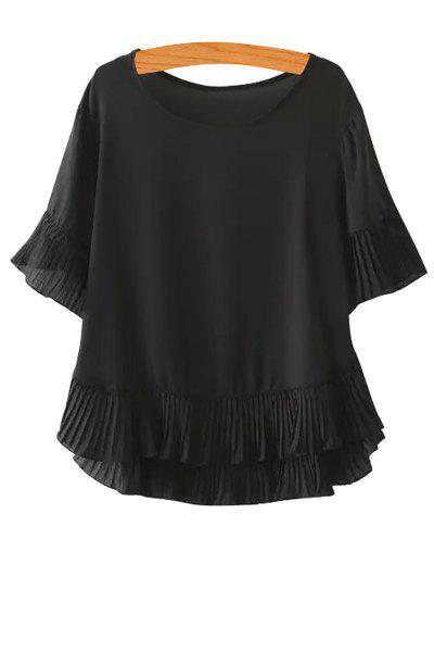 Fashionable Scoop Neck Solid Color Flounce Short Sleeve T-Shirt For Women - BLACK S