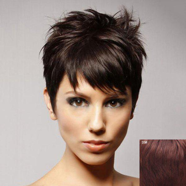 Vogue Human Hair Fluffy Curly Side Bang Short Sophisticated Capless Wig For Women - DARK AUBURN BROWN