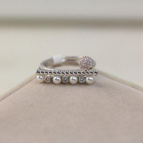 2PCS Stylish Chic Faux Pearl Decorated Rings For Women - SILVER ONE-SIZE