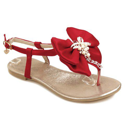 Sweet Style Bowknot and Faux Pearl Design Sandals For Women - RED 37