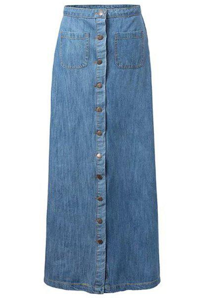 Fashionable Single-Breasted Bleach Wash Denim Long Skirt For Women - BLUE L