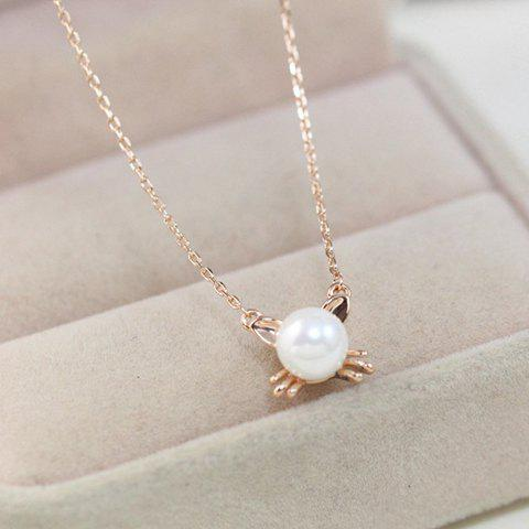 Cute Faux Pearl Decorated Kitten Shape Pendant Necklace For Women