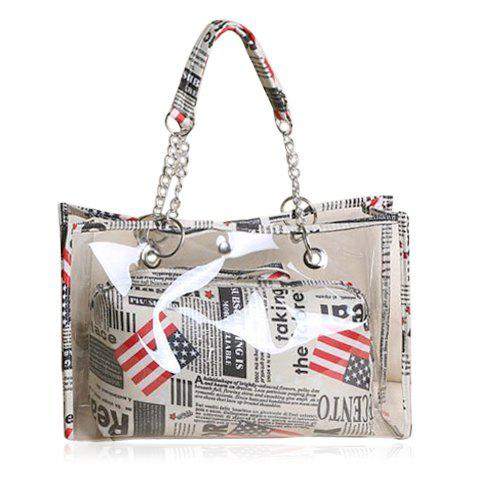 Stylish Transparent and Splice Design Tote Bag For Women