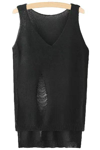 Fashionable V-Neck Solid Color Hole High Low Sleeveless Sweater For Women - BLACK ONE SIZE(FIT SIZE XS TO M)