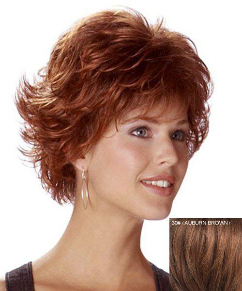 Trendy Human Hair Elegant Side Bang Fluffy Short Wavy Capless Wig For Women -