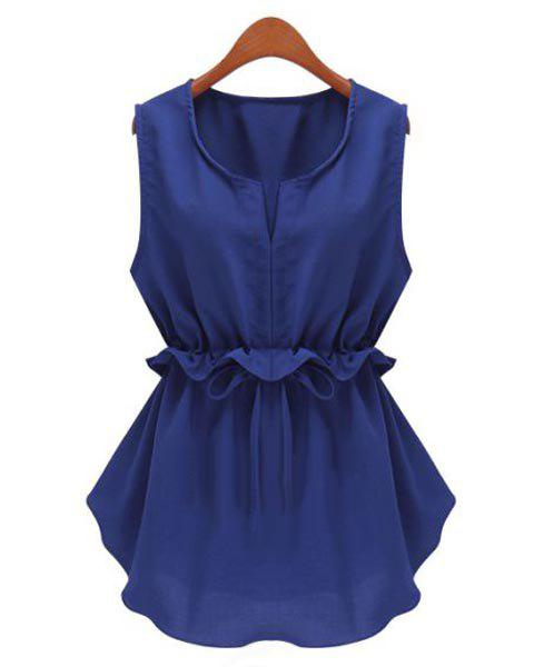 Stylish Scoop Neck Sleeveless Solid Color Ruffled Drawstring Chiffon Blouse For Women - DEEP BLUE 2XL