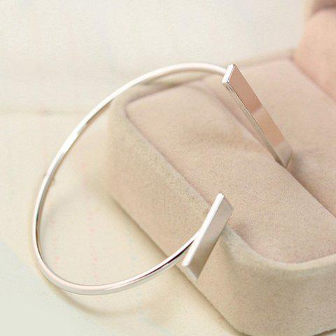 Stylish Solid Color Cuff Bracelet For Women - SILVER