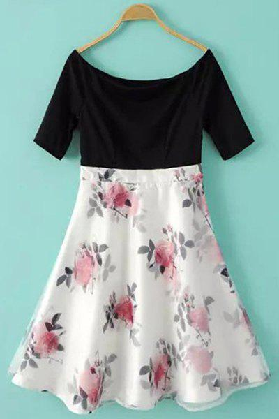 Stylish Boat Neck Short Sleeve Floral Print Spliced A Line Women's Dress - BLACK/WHITE/RED S