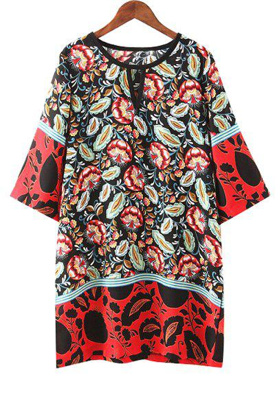 Fashionable Jewel Neck Color Block Red Floral Print 3/4 Sleeve Dress For Women - RED S
