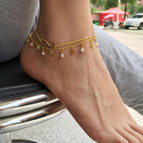 Laconic Faux Pearl Star Anklet For Women - GOLDEN