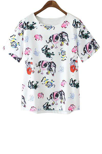 Sweet Style Jewel Neck Colorful Elephant Print Short Sleeve T-Shirt For Women