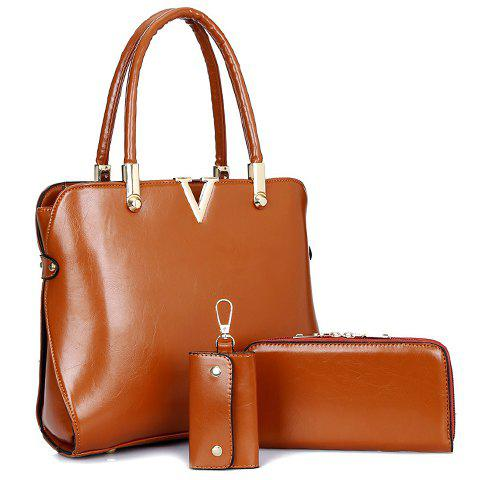 Fashion Style Solid Color and Metallic Design Women's Tote Bag