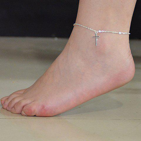 Cross Shaped Charm Anklet - SILVER