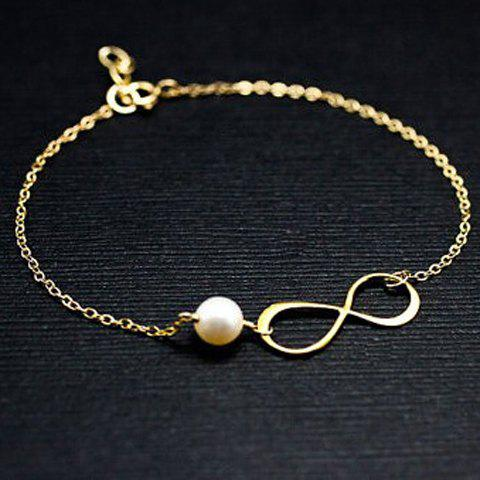 Infinity Adjustable Faux Pearl Bracelet - GOLDEN