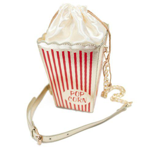 Fashion Style Popcorn Pattern and Chain Design Crossbody Bag For Women - RED