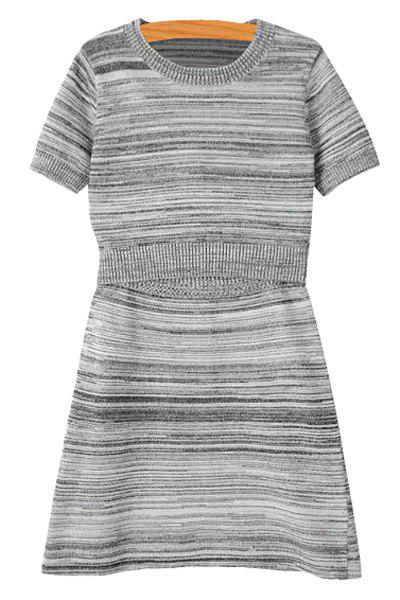 Stylish Short Sleeve Striped T-Shirt and A Line Skirt Women's Suit - GRAY S