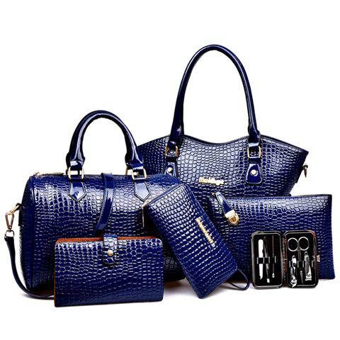 Stylish Style Solid Color and Crocodile Print Design Tote Bag For Women