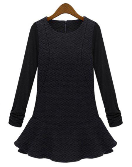 Stylish Scoop Neck Solid Color Plus Size Long Sleeve Women's Dress - BLACK 5XL