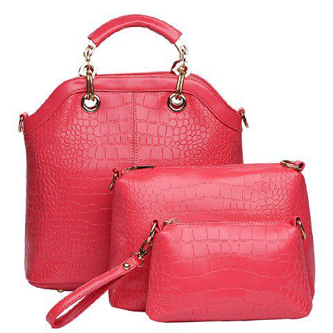 Fashion Style Crocodile Print and Metallic Design Tote Bag For Women - ROSE