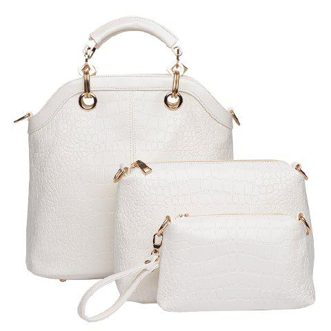 Fashion Style Crocodile Print and Metallic Design Tote Bag For Women - OFF WHITE