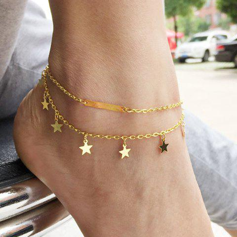 Stylish Solid Color Star Shape Double-Layered Anklet For Women - GOLDEN