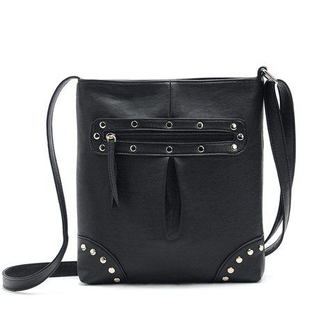 Fashion Style Solid Color and Rivets Design Women's Crossbody Bag - BLACK
