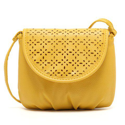 Sweet Style Solid Color and Hollow Out Design Crossbody Bag For Women - YELLOW