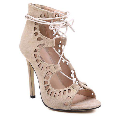 Sexy Criss-Cross and Hollow Out Design Sandals For Women - APRICOT 35