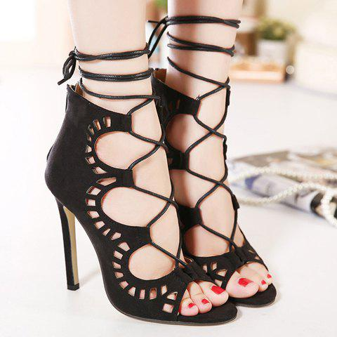 Sexy Criss-Cross and Hollow Out Design Sandals For Women - BLACK 39