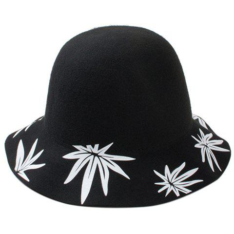 Chic Leaves Printed Brim Women's Felt Bucket Hat - BLACK