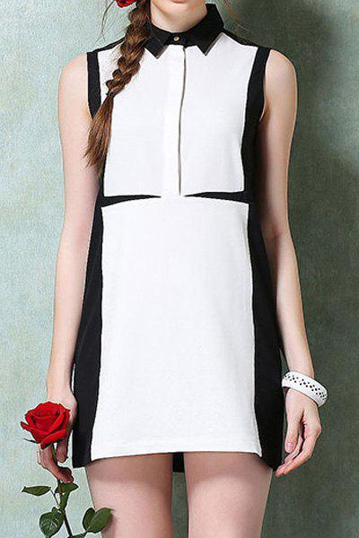 Fashionable Turn-Down Collar White Black Splicing Sleeveless Dress For Women