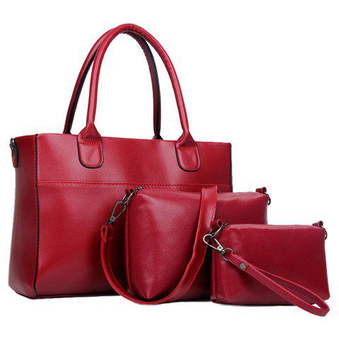 Concise Zip and Solid Color Design Tote Bag For Women - WINE RED