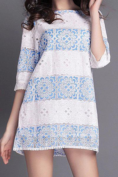Fashionable Jewel Neck Blue Floral Lace Edging Half Sleeve Dress For Women - WHITE XL