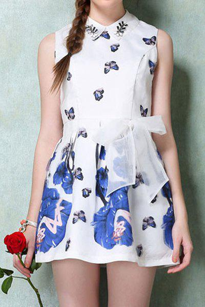 Sweet Style Turn-Down Collar Butterfly Print Voile Tie-Up Sleeveless Dress For Women