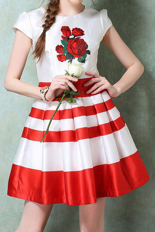 Fashionable Jewel Neck Red Floral Print Stripe Ruffle Short Sleeve Dress For Women