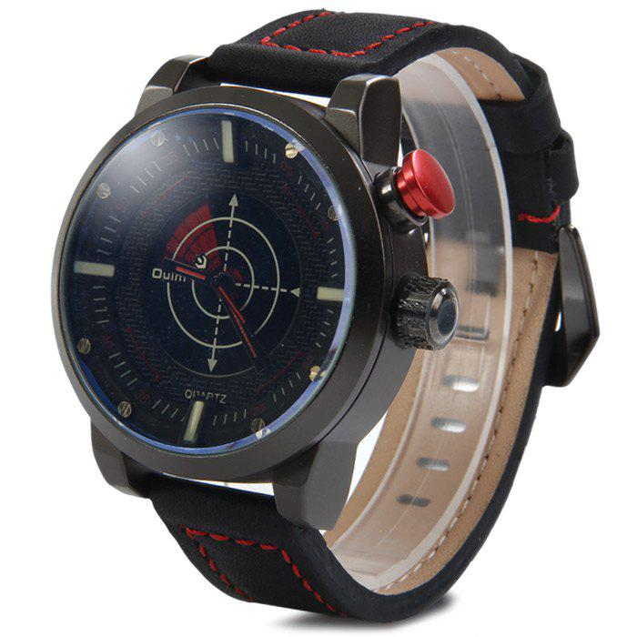 Oulm 3558 LED Scanning Leather Band Men Double Movt Watch - RED