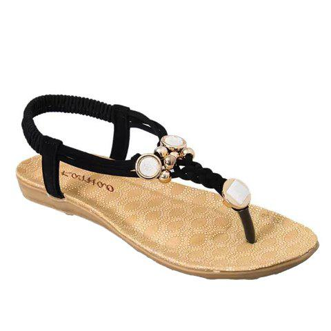 Simple Style Weaving and Metal Design Sandals For Women - BLACK 38