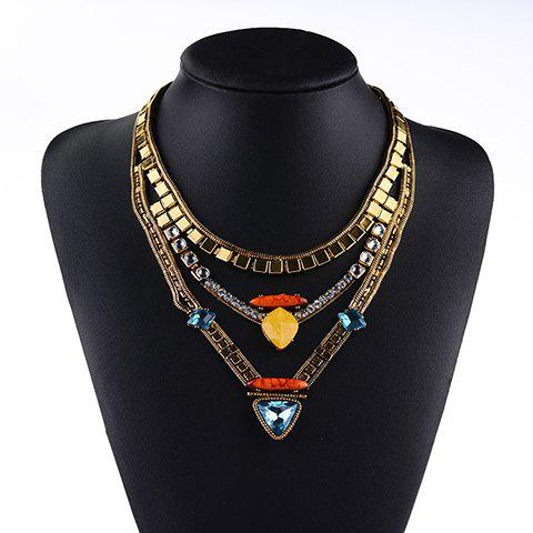 Stylish Trendy Rhinestone Layered Triangle Necklace For Women - GOLDEN