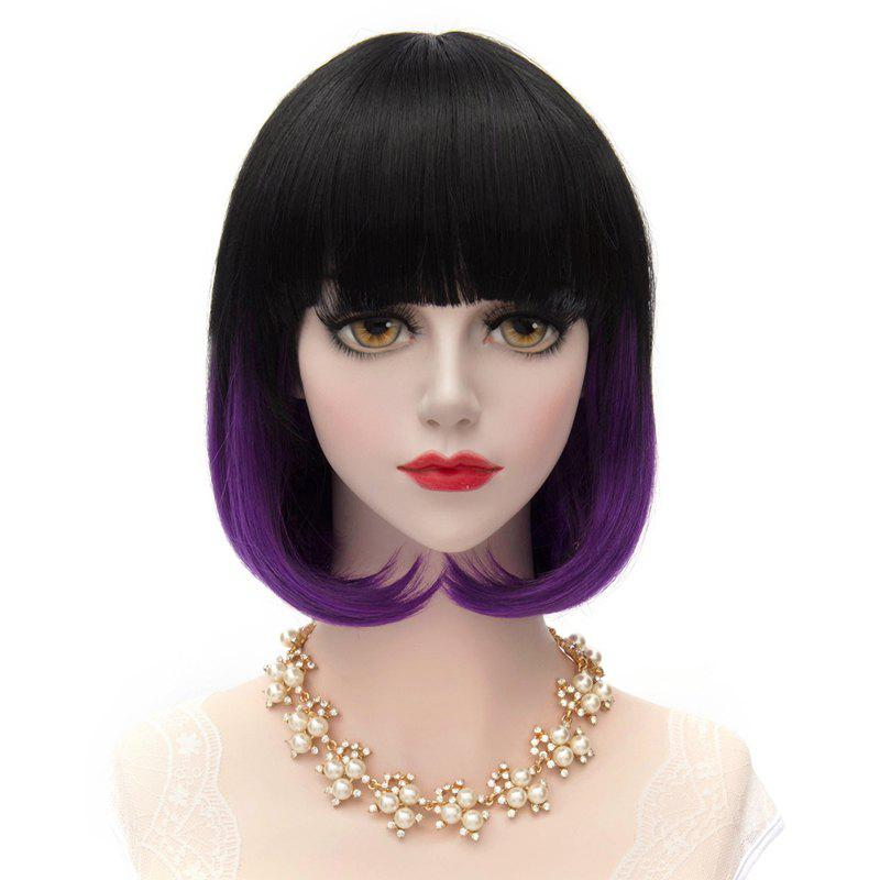 Trendy Harajuku Short Straight Bob Lolita Style Synthetic Black Gradient Purple Full Bang Capless Cosplay Wig