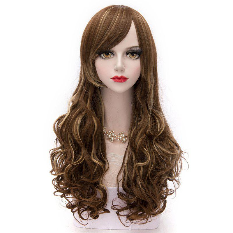 Long Wavy Vogue Fluffy Synthetic Side Bang Lolita Flax Mixed Gold Cosplay Capless Women's Wig - COLORMIX