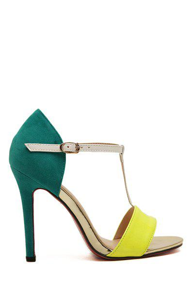 Elegant Color Block and Sexy High Heel Design Women's Sandals - BLUE/YELLOW 39