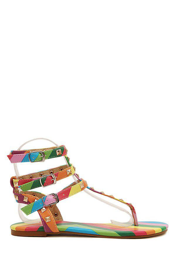 Sweet Rivets and RainBow Design Women's Sandals - COLORFUL 39