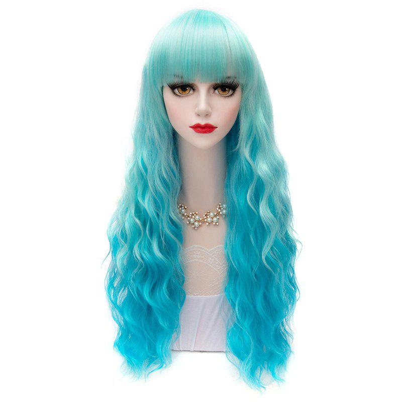 Heat-Resistant 60CM Corn Curly Hair Full Bang Sweet Stylish Lolita Style Blue Ombre Cosplay Wig - BLUE