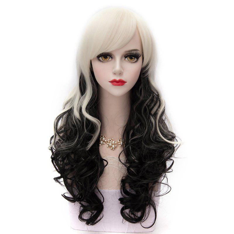Black and White Ombre Long Wavy Side Bang Synthetic Fashion Lolita Harajuku Cosplay Wig For Party - WHITE/BLACK