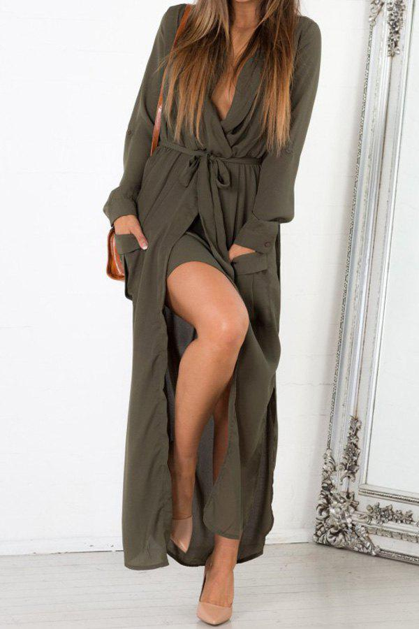 Pockets Tie Belt Crossover Maxi Dress - ARMY GREEN M