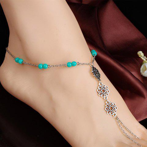 Retro Style Beads Hollow Out Women's Anklet - SILVER