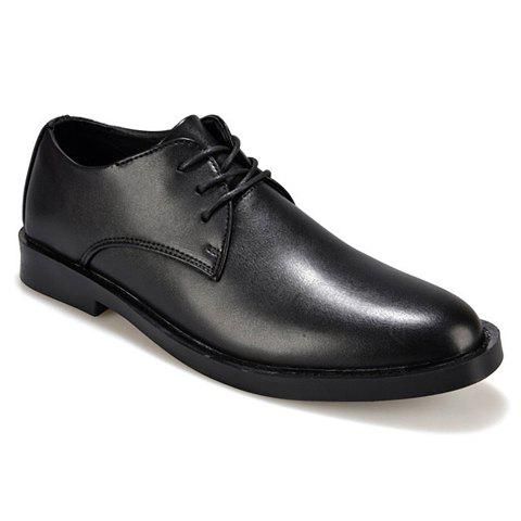 Concise Lace-Up and Solid Color Design Formal Shoes For Men - BLACK 43