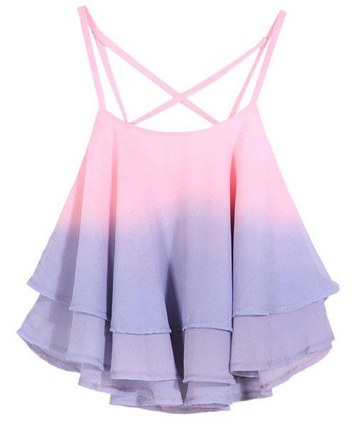 Stylish Spaghetti Strap Ombre Flounced Women's Tank Top - PINK ONE SIZE(FIT SIZE XS TO M)
