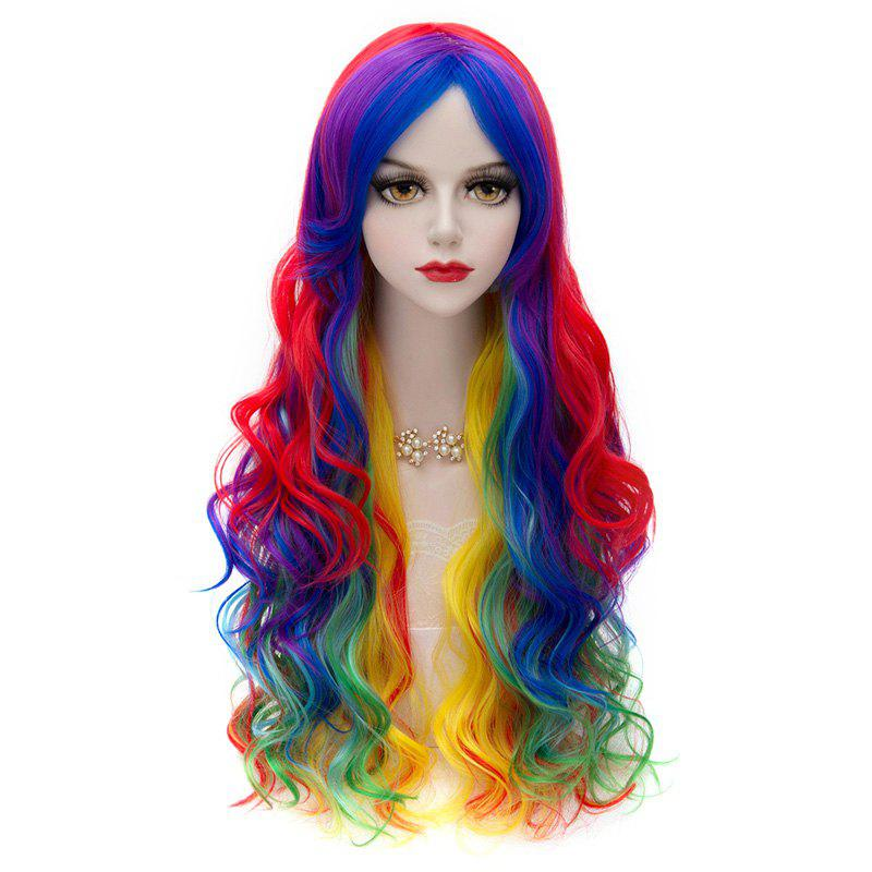 Stylish Synthetic Long Wavy Towheaded Rainbow Ombre Charming Offbeat Side Bang Women's Capless Wig - COLORFUL