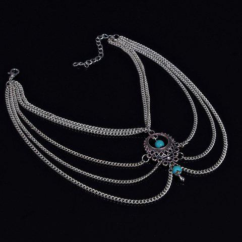 Classic Ethnic Style Hollow Out Multi-Layered Anklet For Women - SILVER